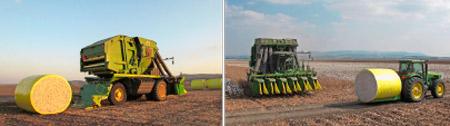 Revolution bei der Baumwollernte . Mit der RMW-Folie werden 5 Schritte gespart